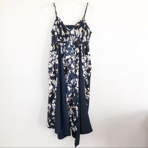 Vera Wang Navy Blue Floral Asymmetrical Tank Dress